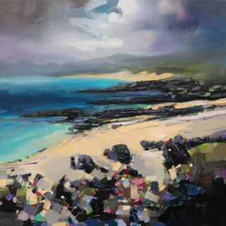 'Rocky Beach I' by Scott Naismith Gel Brush Finished Gallery-Wrapped Canvas Wall Art, Ready to Hang
