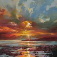 'Sun Rays' by Scott Naismith Gel Brush Finished Gallery-Wrapped Canvas Wall Art, Ready to Hang
