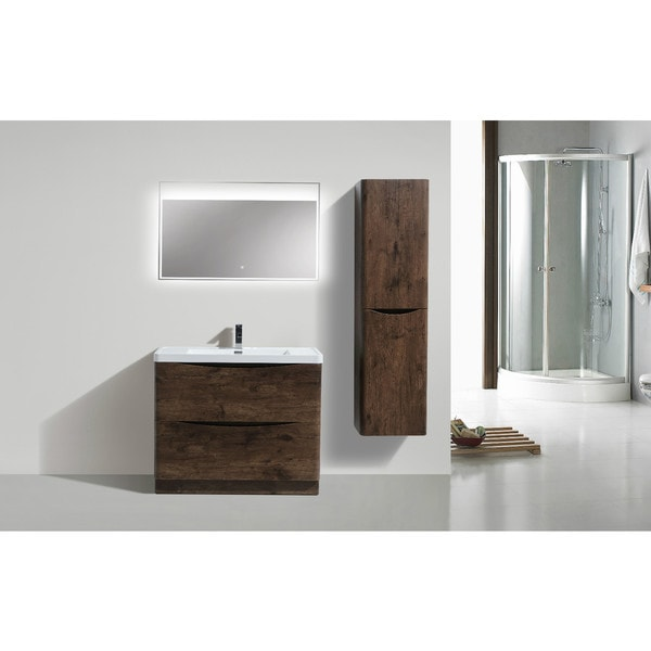 Moreno Smile Modern Acrylic Sink 2 Drawer 40 Inch Single Bathroom Vanity