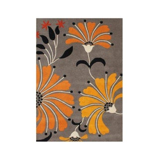 Alliyah Handmade New Zealand Blend Wool Transitional Grey Floral Rug ( 5' x 8' )