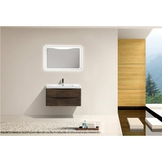 """MORENO SMILE 36"""" WALL MOUNTED MODERN BATHROOM VANITY W/ 2 DRAWERS AND REINFORCED ACRYLIC SINK"""