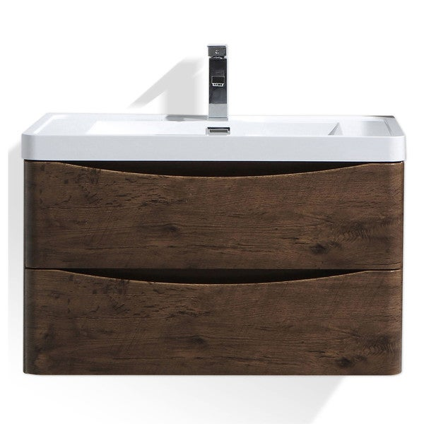 Moreno Smile 32-inch Wall-mounted Modern Bathroom Vanity with Acrylic Sink