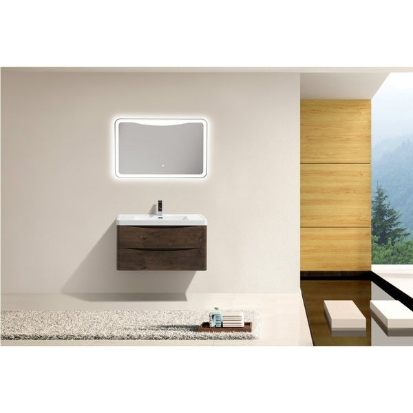 Moreno Bath Smile 32 Inch Wall Mounted Modern Bathroom Vanity with Reinforced Acrylic Sink