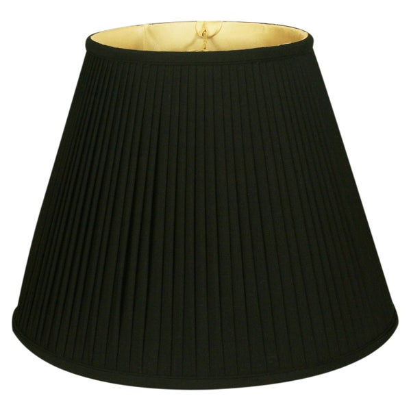 Royal Designs Deep Empire Side Pleat Basic Lamp Shade, Black/Gold 9 x 16 x 12.25