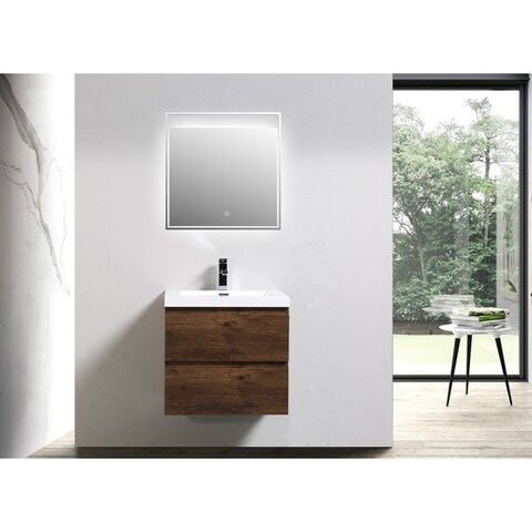 Moreno Bath MOB 24 Inch Wall Mounted Modern Bathroom Vanity With Reinforced Acrylic Sink