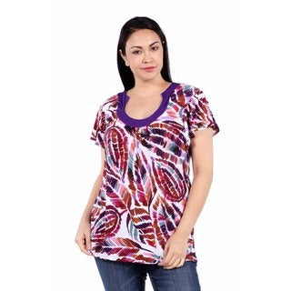 24/7 Comfort Apparel Summer Trails Plus Size Tunic Top