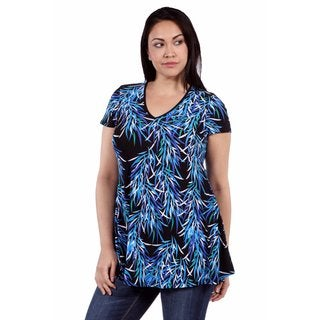 24/7 Comfort Apparel Blue Night Rayon from Bamboo Plus Size Top