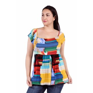 24/7 Comfort Apparel French Watercolor Plus Size Top