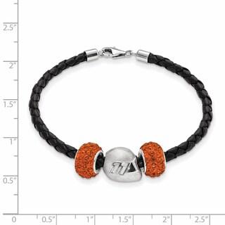 Nascar Car Number 11 Sterling Silver and Leather Bead Bracelet