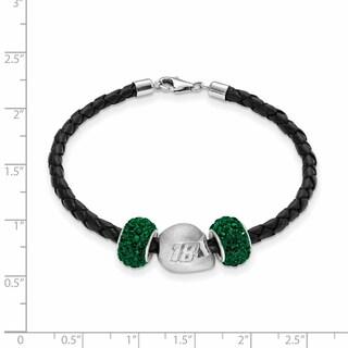 LogoArt Nascar Sterling Silver and Leather Bead Bracelet for Car 18