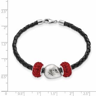 Nascar Car 88 Sterling Silver and Leather Bead Bracelet