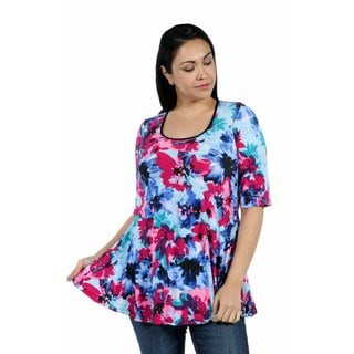24/7 Comfort Apparel Color and Casual Plus Size Tunic Top