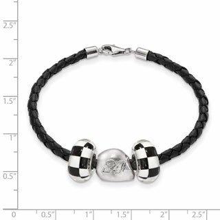 LogoArt Nascar White Sterling Silver and Leather Bead B'LET for Car 24