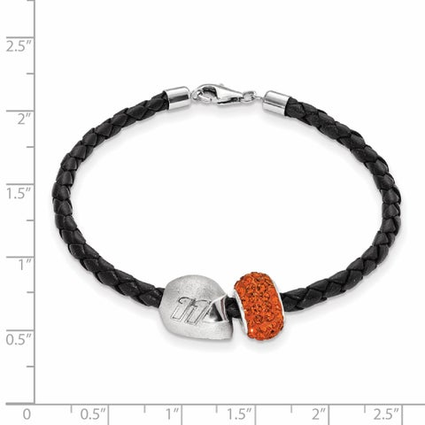 LogoArt Nascar Car 11 Sterling Silver and Leather Bead Bracelet