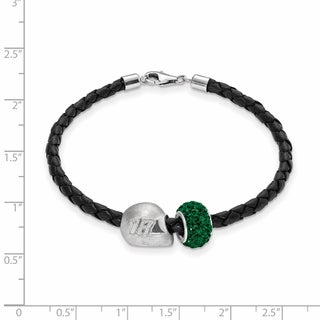 LogoArt Sterling Silver/Leather NASCAR Car Number 18 Bead Bracelet