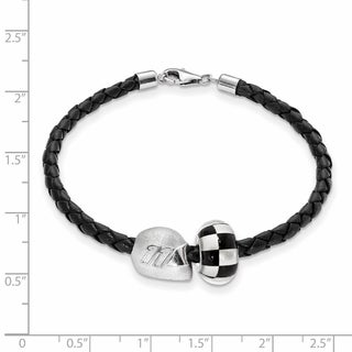 LogoArt Women's NASCAR 11 Sterling Silver/Leather Bead Bracelet