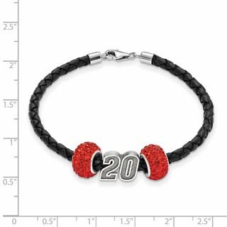 Nascar Car Number 20 Sterling Silver and Leather Bead Bracelet