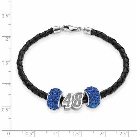 Nascar Car Number 48 Sterling Silver and Leather Bead Bracelet