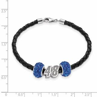 Nascar Car Number 48 Sterling Silver and Leather Bead Bracelet