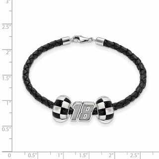 LogoArt NASCAR White Sterling Silver and Leather Bead B'LET for Car 18