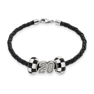 LogoArt Sterling Silver/Leather NASCAR #20 Bead Bracelet