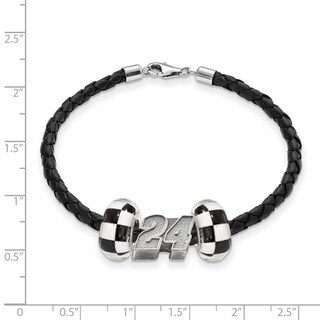 Nascar Car 24 Sterling Silver and Leather Bead Bracelet