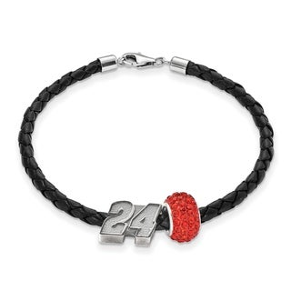 LogoArt NASCAR Car Number 24 Sterling Silver and Leather Bead B'LET