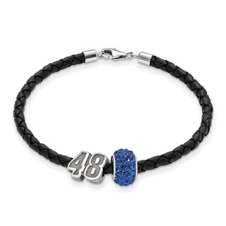 NASCAR Car 48 Sterling Silver and Leather Bead Bracelet
