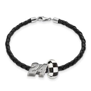 LogoArt Nascar White Sterling Silver and Leather Bead Bracelet for Car #24