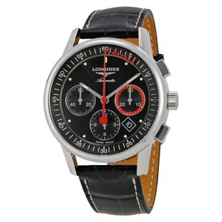 Longines Men's L47544524 'Heritage' Chronograph Automatic Black Leather Watch