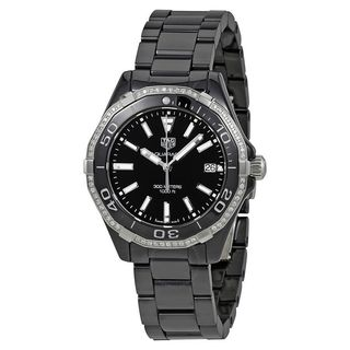 Tag Heuer Women's 'Aquaracer' Diamond Black Ceramic Watch