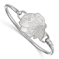 LogoArt Women's Chicago Blackhawks Sterling Silver Bangle Bracelet