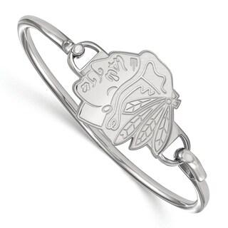 LogoArt Women's Chicago Blackhawks Sterling Silver Bangle Bracelet