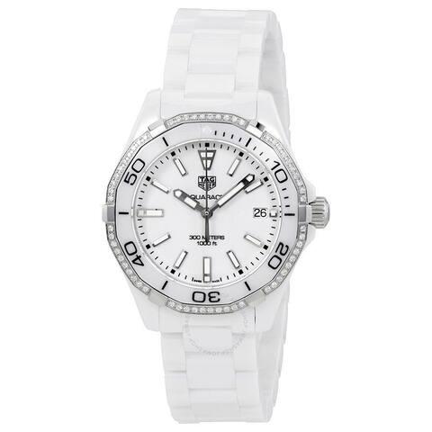 Tag Heuer Women's WAY1396.BH0717 'Aquaracer' Diamond White Ceramic Watch
