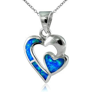 Sterling Silver Created Opal Double Heart Pendant Necklace