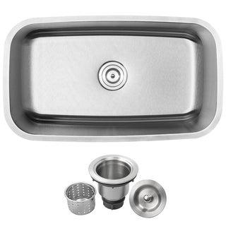 "31-1/2"" Ticor S-112 Stainless Steel 16 Gauge Undermount Single Bowl Kitchen Sink"