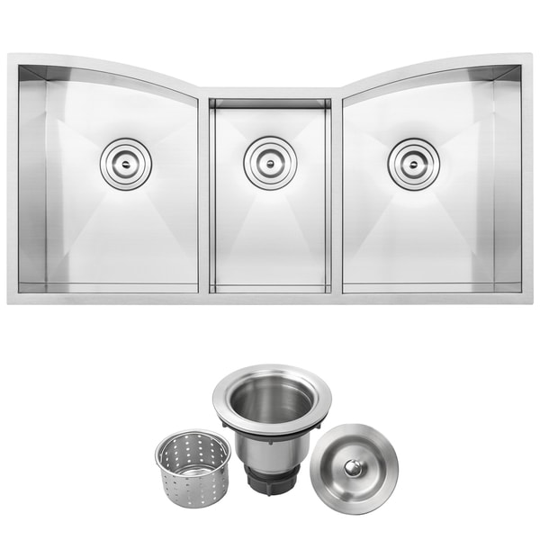 42   ticor tr2240 stainless steel 16 gauge triple bowl undermount kitchen sink with zero 42   ticor tr2240 stainless steel 16 gauge triple bowl undermount      rh   overstock com