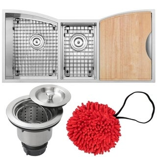 "42"" Ticor TR2240-KIT Stainless Steel 16-gauge Triple Bowl Undermount Kitchen Sink with Zero Radius Corners"
