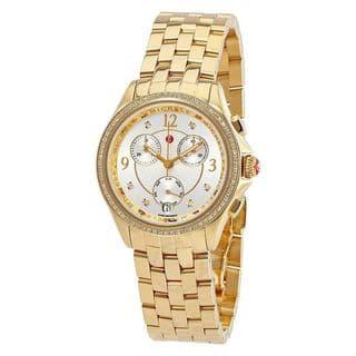 Michele Women's MWW29B000009 'Belmore' Chronograph Diamond Gold-Tone Stainless Steel Watch|https://ak1.ostkcdn.com/images/products/14802274/P21321318.jpg?impolicy=medium