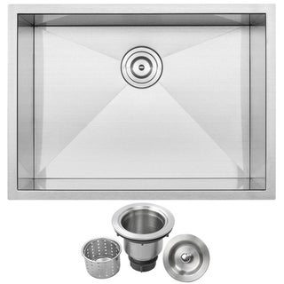 "26"" Ticor S3670 Stainless Steel 16 Gauge Single Bowl Undermount Square Kitchen Sink Zero Radius Corners"