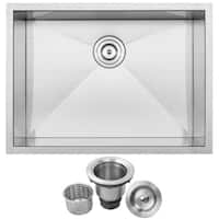 "26"" Ticor S3670 Pacific Series 16-Gauge Stainless Steel Undermount Single Basin Zero Radius Kitchen Sink"