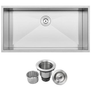 "36"" Ticor S3700 Stainless Steel 16 Gauge Single Bowl Undermount Square Kitchen Sink w/ Zero Radius"