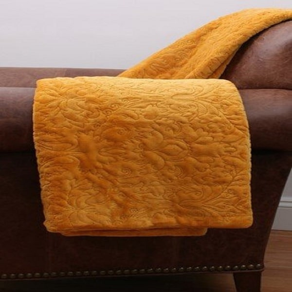 Thro by Marlo Golden Yellow VALERIE Damask Embroidered Fleece Decorative Throw