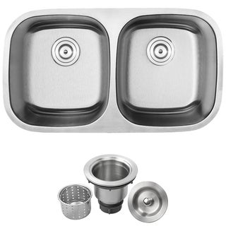 "32-1/2"" Ticor S-205 Stainless Steel 16 Gauge Undermount Double Bowl Kitchen Sink"