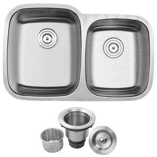 "32-1/4"" Ticor S-305 Stainless Steel 16 Gauge Undermount Double Bowl Kitchen Sink"