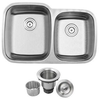"32 1/4"" Ticor S305 Haven Series 16-Gauge Stainless Steel Undermount Double Basin Kitchen Sink"