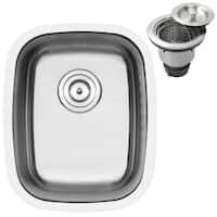"""15"""" Ticor S-805 Stainless Steel 16 Gauge Undermount Single Bowl Kitchen and Bar Sink - Silver"""