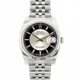 Pre-owned Rolex Mid 2000's Model 116234 Men's Datejust Stainless Steel Black & Silver Tuxedo Dial Watch