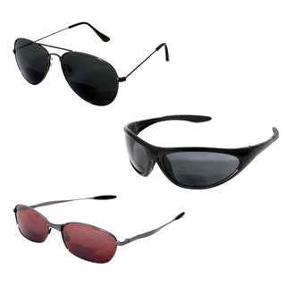 Black Plastic 3-piece Bifocal Sunglasses Set