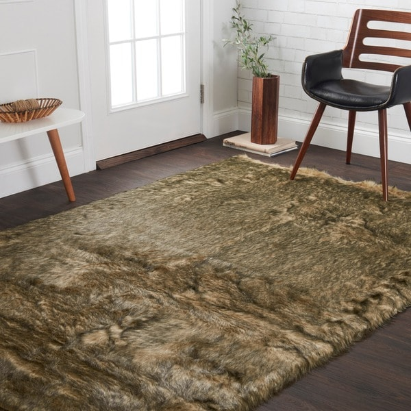 Shop Faux Fur Beige/ Black Shag Rug